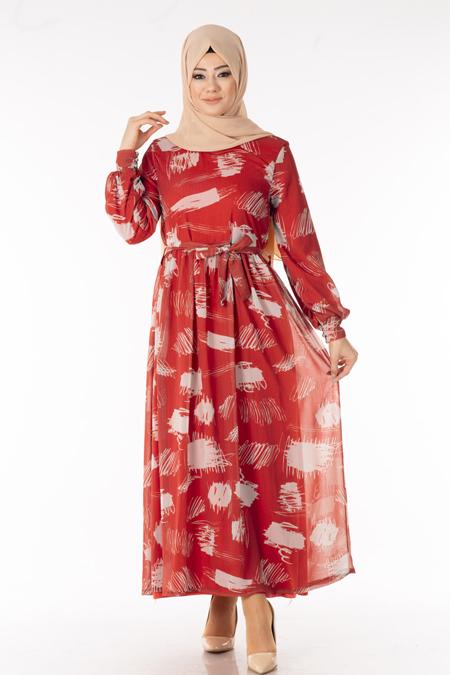 Kiremit Desenli Şifon Tesettür Elbise