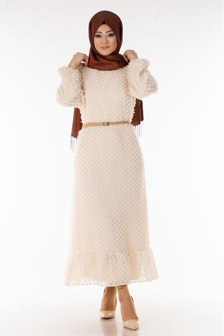 Krem Minik Ponponlu Tesettür Elbise