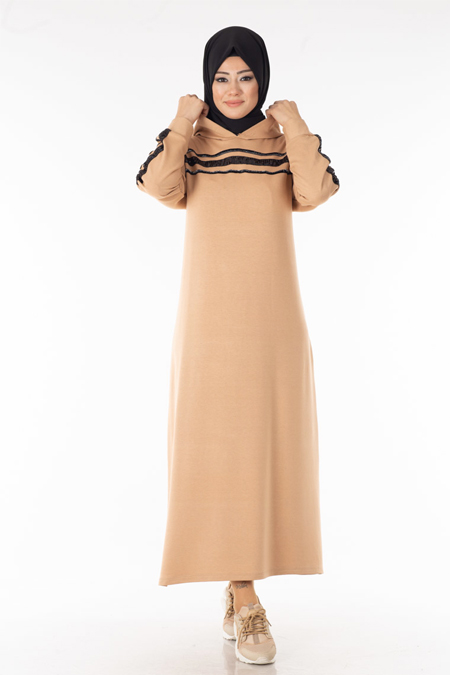 Krem Pul Şeritli Tesettür Elbise