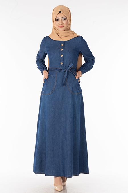 Lacivert Cepli Düğmeli Kot Elbise