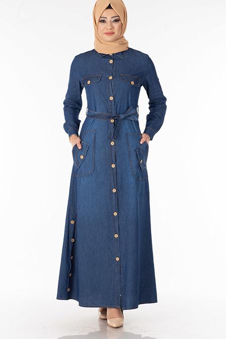 Lacivert Düğmeli Yakalı Kot Elbise