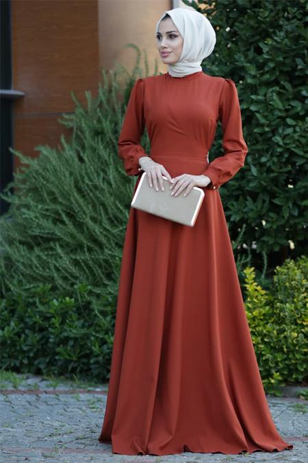 Lavienza Kiremit Kruvaze Elbise