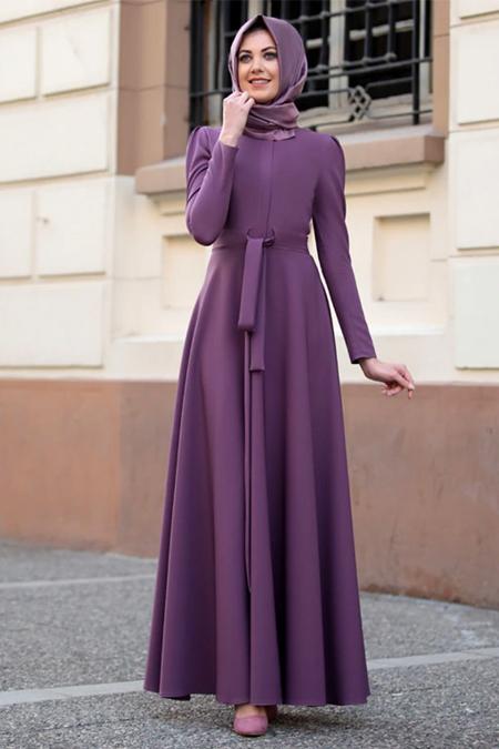 Lavienza Lila Kuşaklı Elbise