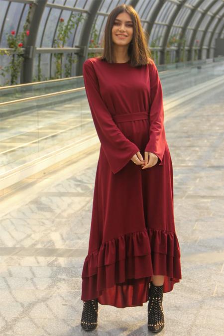 Meys Bordo Eteği Fırfırlı Elbise