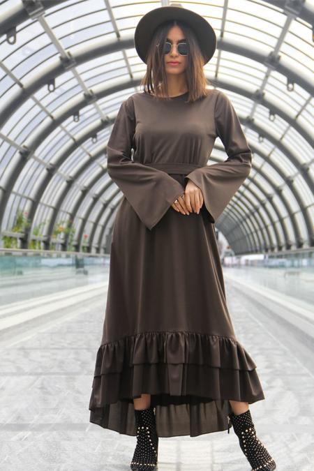 Meys Haki Eteği Fırfırlı Elbise