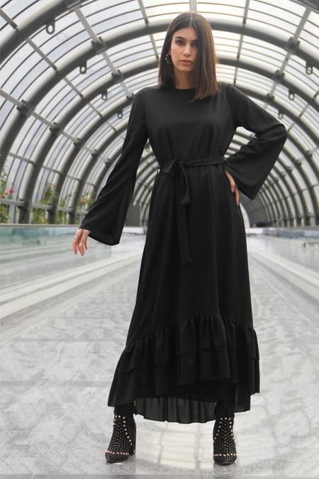Meys Siyah Eteği Fırfırlı Elbise