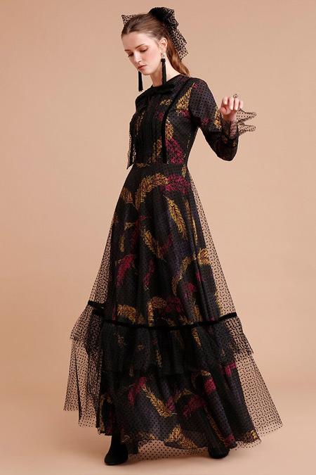 Minel Aşk Puantiyeli Tül Detaylı Desenli Siyah Elbise