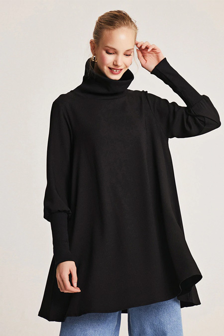 Muni Muni Siyah Garnili Dökümlü Tunik