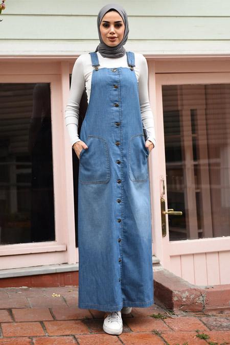Neways Mavi Askılı Elbise