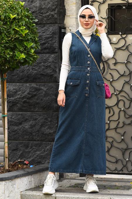 Neways Lacivert Tesettür Elbise