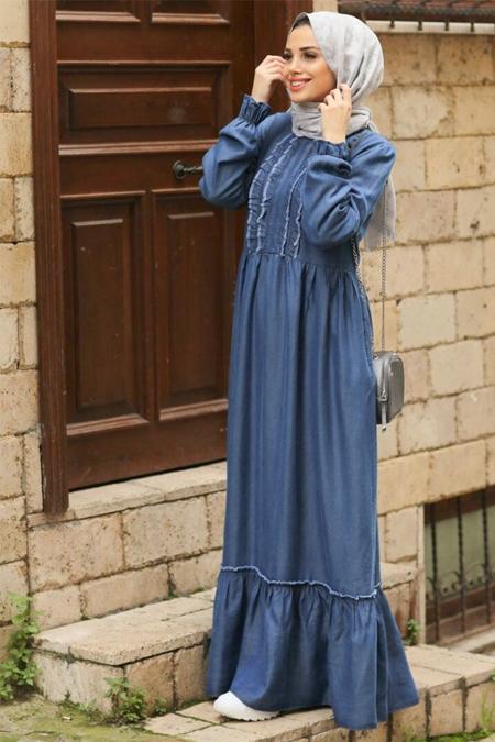 Neways Mavi Doğal Kumaşlı Kot Elbise