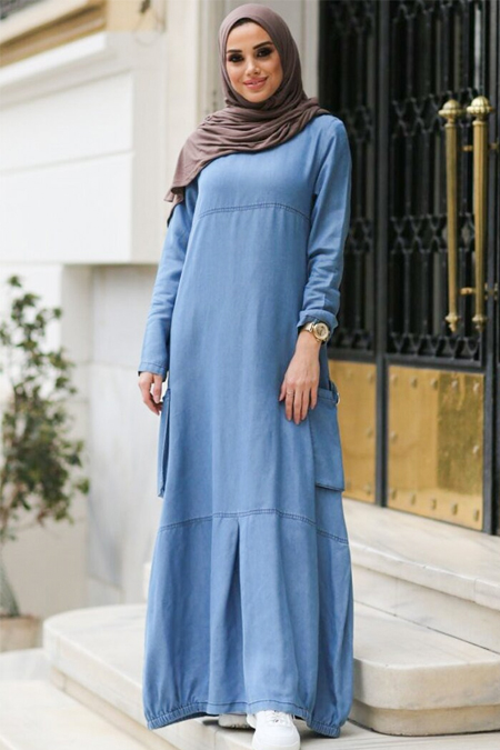 Neways Mavi Eteği Lastikli Cepli Elbise