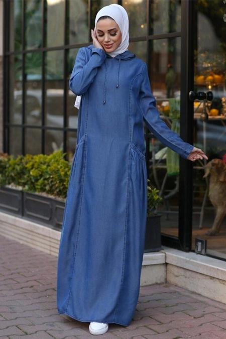 Neways Mavi Kapüşonlu Tensel Kot Elbise
