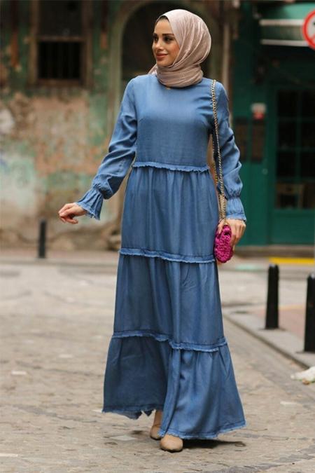 Neways Mavi Tensel Kot Elbise