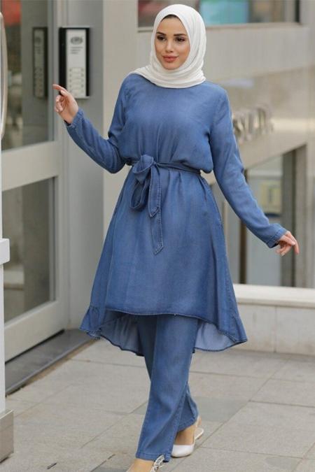 Neways Mavi Tunik & Pantolon İkili Tensel Kot Takım