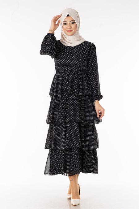 Puantiyeli Katmanlı Tesettür Elbise