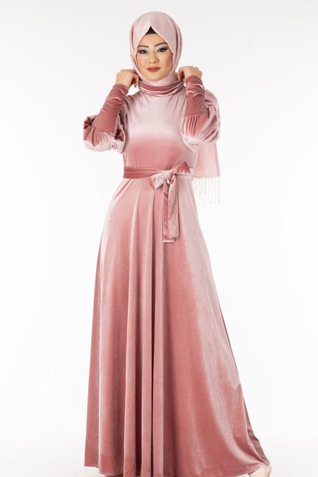 Pudra Boğazlı Kadife Tesettür Elbise