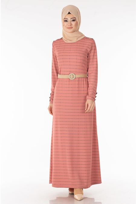 Pudra Çizgili Düğme Detay Tesettür Elbise
