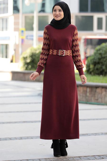 Rana Zenn Bordo Minel Triko Elbise