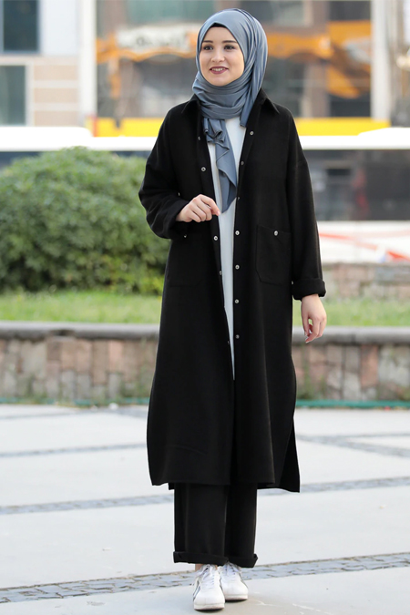Rana Zenn Siyah Eflin 2`Li Kadife Takım
