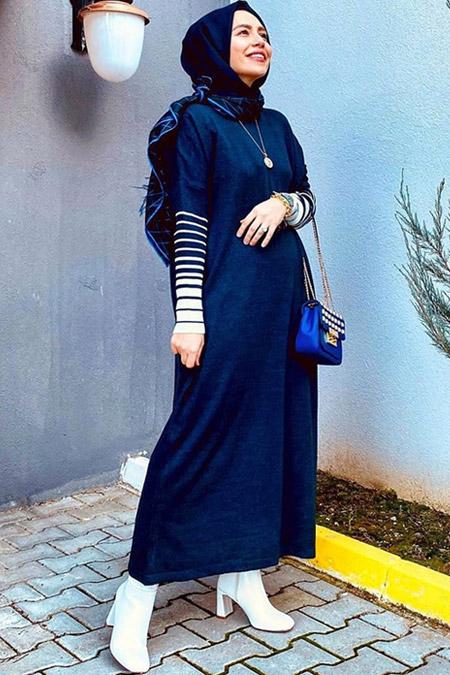 Refka Lacivert Ekru Çizgili Uzun Triko Tunik Elbise