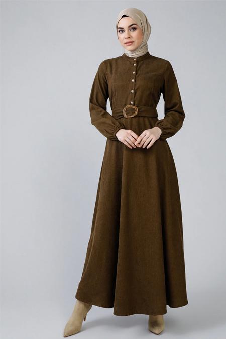 Refka Haki Hakim Yaka Kemer Detaylı Elbise