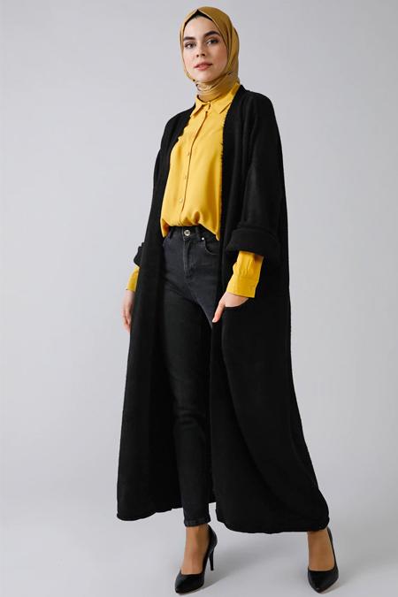 Refka Siyah Uzun Triko Hırka