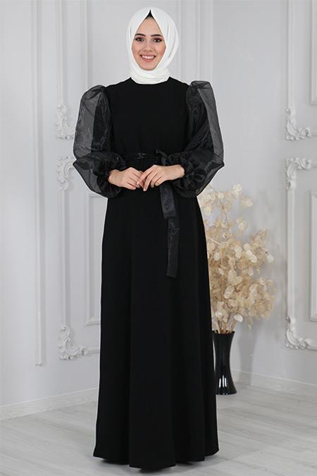 Sahranur Siyah Kolu Organze Tüllü Abiye Elbise
