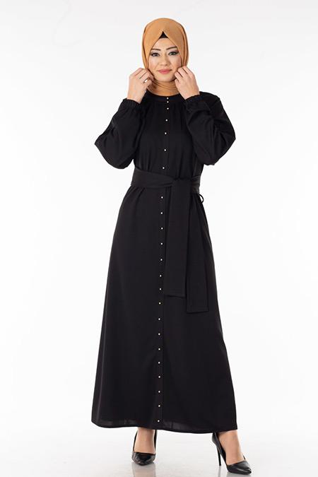 Siyah İnci Detaylı Tesettür Elbise
