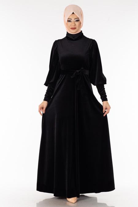 Siyah Boğazlı Kadife Tesettür Elbise