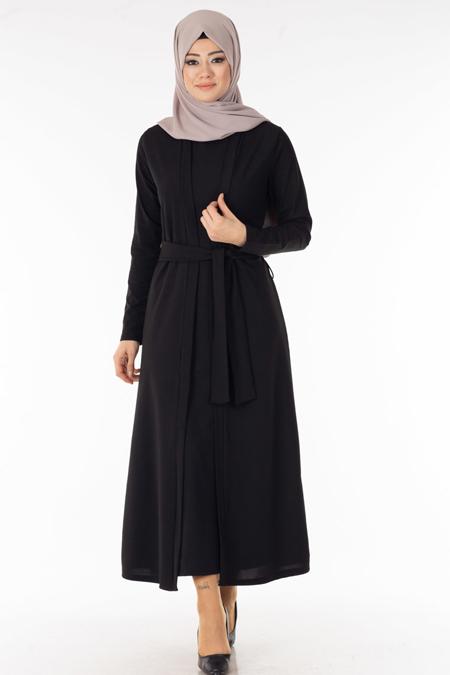 Siyah Hırka Elbise Tesettür İkili Takım