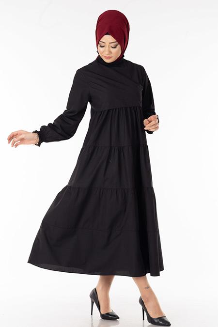 Siyah Kat Kat Tesettür Elbise