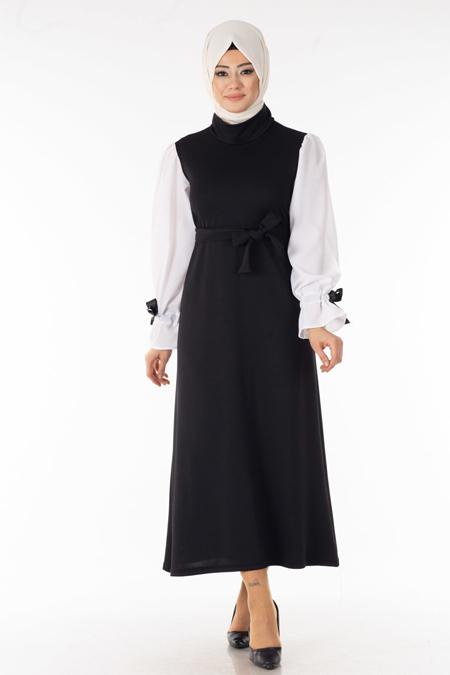 Siyah Kuşaklı Krep Tesettür Elbise