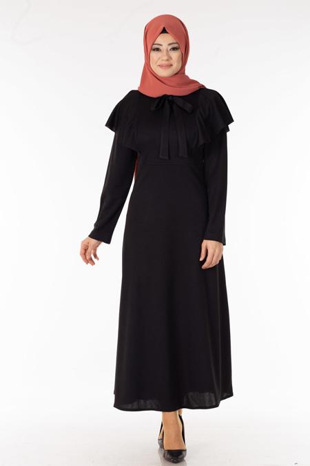 Siyah Omzu Volanlı Tesettür Elbise
