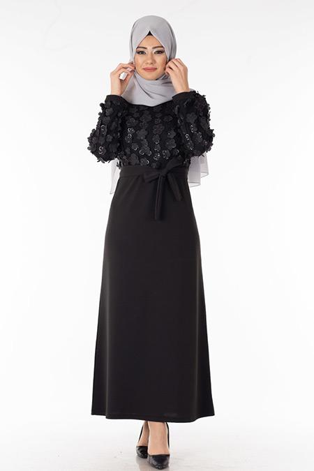 Siyah Papatya Tüllü Tesettür Elbise