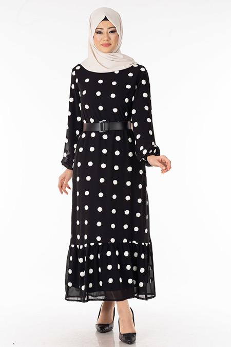 Siyah Ponponlu Şifon Tesettür Elbise