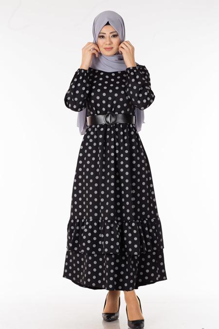 Siyah Puantiyeli Kemerli Tesettür Elbise