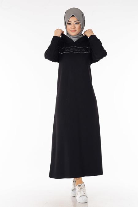 Siyah Pul Şeritli Tesettür Elbise