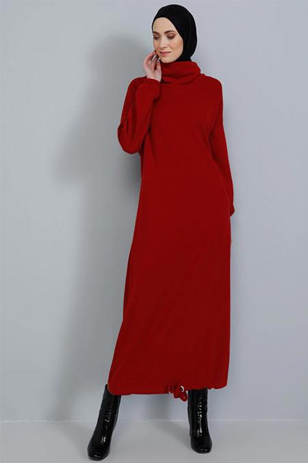 Tavin Bordo Eteği Büzgülü Triko Elbise