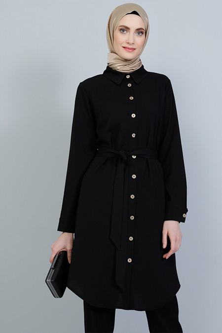 Tavin Siyah Kuşaklı Gömlek Tunik