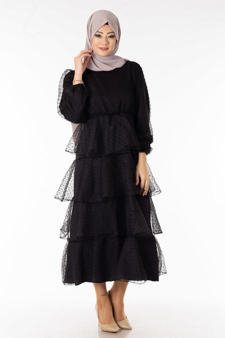 Tüllü Katmanlı Tesettür Elbise
