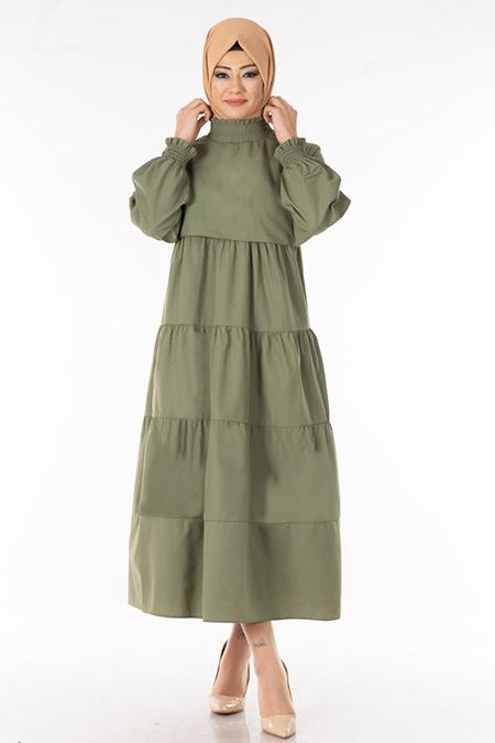 Yeşil Kat Kat Tesettür Elbise