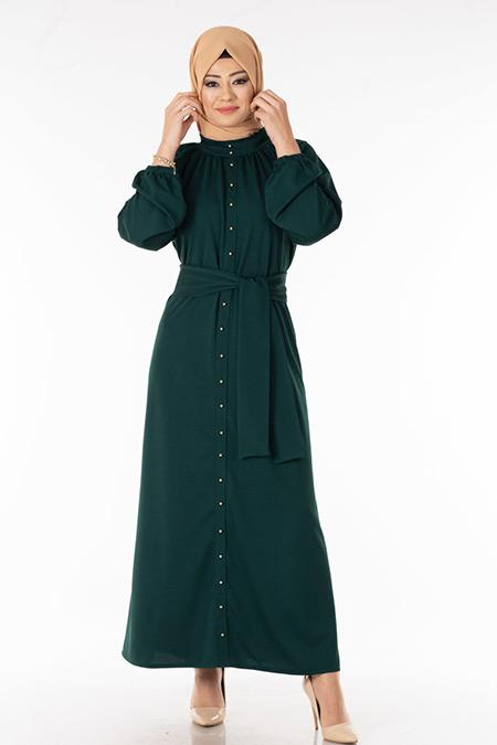 Zümrüt İnci Detaylı Tesettür Elbise