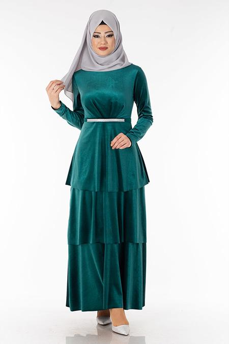Zümrüt Kemerli Kadife Tesettür Elbise