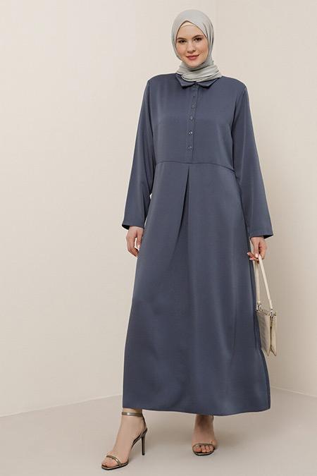Alia Menekşe Düğme Detaylı Elbise
