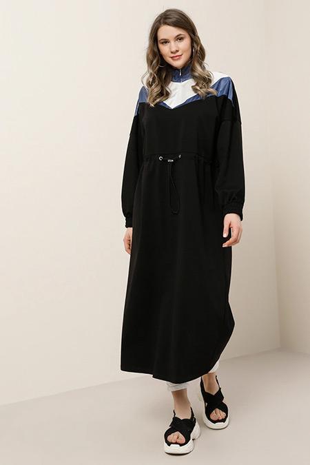 Alia Siyah İndigo Beli Lastikli Garnili Elbise