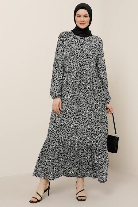 Alia Siyah Beyaz Doğal Kumaşlı Şal Desenli Elbise
