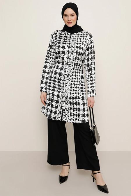 Alia Siyah Beyaz Kazayağı Desenli Saten Gömlek Tunik