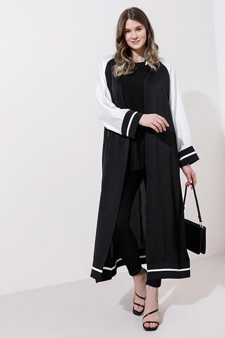 Alia Siyah Beyaz Kimono Kap