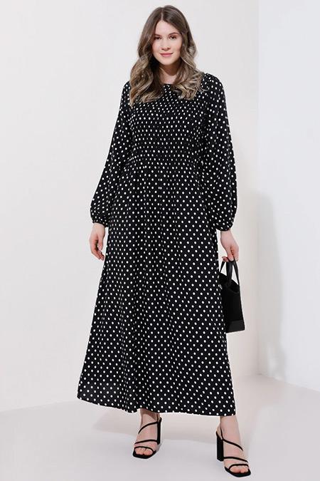 Alia Siyah Beyaz Puantiyeli Elbise
